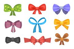 Cartoon cute gift bows with ribbons. color butterfly tie Royalty Free Stock Images