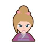 cartoon cute girl chinese kimono sakura flower Stock Photos