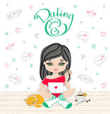 Cartoon cute girl dating on-line with lettering dating on-line. Stock Photo