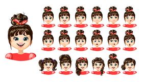 Cartoon Cute Girl Emotions Set. With different expressions feelings mood and hairstyle isolated vector illustration Stock Photos