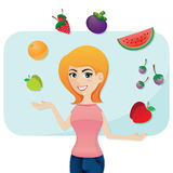 Cartoon cute girl with fruits Stock Photo