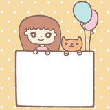 Cartoon cute girl and her puppy with empty space for your text Royalty Free Stock Photography