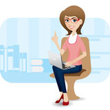 Cartoon cute girl with laptop at office Royalty Free Stock Image