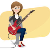 Cartoon cute girl playing electric guitar Stock Photo