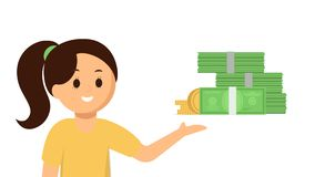 Happy girl pointing at money, vector flat illustration. Cartoon cute girl pointing at piles of money illustration, banner. Businesswoman earning money, advicing Stock Photos