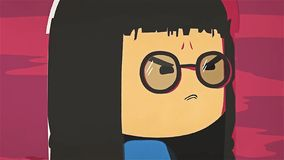 Cartoon cute girl portrait crying and whiping her tears by her hand. Asian stressed anime girl with glasses feeling sad royalty free illustration