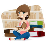 Cartoon cute girl reading book in library Stock Photography