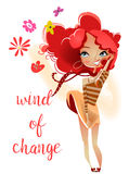 Cartoon cute girl with red hairs Stock Photo