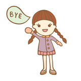 Cartoon cute girl saying bye Royalty Free Stock Photos