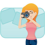 Cartoon cute girl shoot photo with camera Royalty Free Stock Photos