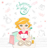 Cartoon cute girl shopping on-line on the background. Of the Doodle clothes. Girl sitting on rug with laptop and holding credit card. On a wooden floor are Royalty Free Stock Photos