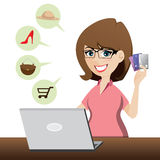 Cartoon cute girl shopping online with credit cards Stock Photo