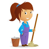 Cartoon cute girl with swab and bucket Stock Image