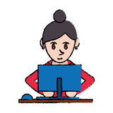 Cartoon cute girl using blue computer working Stock Image