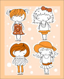 Cartoon cute girl,vector Stock Photography