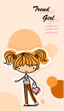 Cartoon cute girl,vector Royalty Free Stock Images