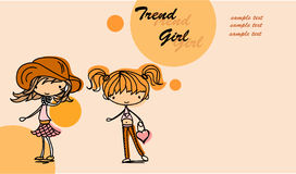 Cartoon cute girl  vector Stock Images