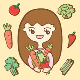Cartoon cute Girl With Vegetables Royalty Free Stock Photo