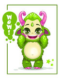 Cartoon cute green monster Royalty Free Stock Image