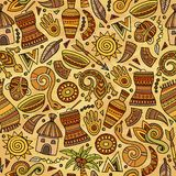 Cartoon cute hand drawn African seamless pattern. Colorful detailed, with lots of objects background. Endless funny vector illustration. Bright colors backdrop Stock Photos