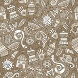 Cartoon cute hand drawn African seamless pattern. Colorful detailed, with lots of objects background. Endless funny vector illustration. Bright colors backdrop Stock Photo