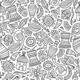 Cartoon cute hand drawn African seamless pattern. Line art detailed, with lots of objects background. Endless funny vector illustration Stock Images