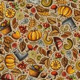 Cartoon cute hand drawn Autumn seamless pattern Stock Photos