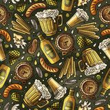 Cartoon cute hand drawn Beer fest seamless pattern Royalty Free Stock Image