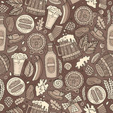 Cartoon cute hand drawn Beer fest seamless pattern. Monochrome with lots of objects background. Endless funny vector illustration Royalty Free Stock Images