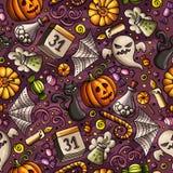 Cartoon cute hand drawn Halloween seamless pattern Royalty Free Stock Photo