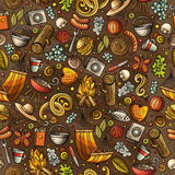 Cartoon cute hand drawn Picnic seamless pattern. Colorful detailed, with lots of objects background. Endless funny vector illustration Royalty Free Stock Image