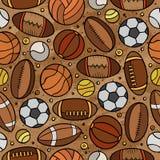 Cartoon cute hand drawn Sport seamless pattern Royalty Free Stock Photo