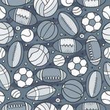 Cartoon cute hand drawn Sport seamless pattern Royalty Free Stock Photos