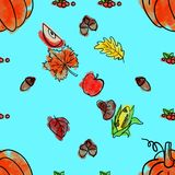 Cartoon cute hand drawn Thanksgiving seamless pattern. Line art detailed, with lots of objects background. Illustration Royalty Free Stock Images