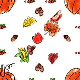 Cartoon cute hand drawn Thanksgiving seamless pattern. Line art detailed, with lots of objects background. Illustration Royalty Free Stock Photography