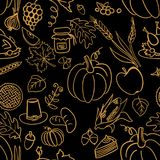 Cartoon cute hand drawn Thanksgiving seamless pattern. Line art detailed, with lots of objects background. Illustration Stock Photo