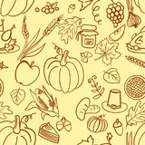 Cartoon cute hand drawn Thanksgiving seamless pattern. Line art detailed, with lots of objects background. Illustration Stock Images