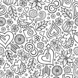 Cartoon cute hand drawn Valentine`s Day seamless pattern royalty free illustration