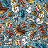 Cartoon cute hand drawn Winter season seamless pattern Stock Photos