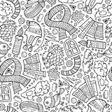 Cartoon cute hand drawn Winter season seamless pattern Stock Images
