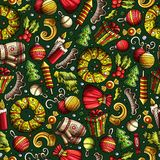 Cartoon cute hand drawn Xmass seamless pattern. Colorful with lots of objects background. Endless funny  illustration Royalty Free Stock Photos