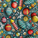 Cartoon cute hand drawn Xmass seamless pattern. Colorful with lots of objects background. Endless funny  illustration Stock Images