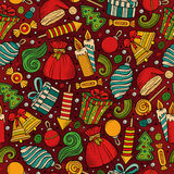 Cartoon cute hand drawn Xmass seamless pattern. Colorful with lots of objects background. Endless funny vector illustration Stock Photo