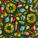 Cartoon cute hand drawn Xmass seamless pattern. Colorful with lots of objects background. Endless funny vector illustration Stock Photography