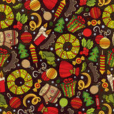 Cartoon cute hand drawn Xmass seamless pattern. Colorful with lots of objects background. Endless funny vector illustration Royalty Free Stock Photo