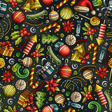 Cartoon cute hand drawn Xmass seamless pattern. Colorful with lots of objects background. Endless funny vector illustration Royalty Free Stock Photos