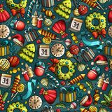 Cartoon cute hand drawn Xmass seamless pattern. Colorful with lots of objects background. Endless funny vector illustration Royalty Free Stock Image