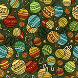 Cartoon cute hand drawn Xmass seamless pattern. Colorful with lots of objects background. Endless funny vector illustration Royalty Free Stock Photography