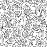Cartoon cute hand drawn Xmass seamless pattern. Line art with lots of objects background. Endless funny  illustration Stock Images