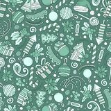 Cartoon cute hand drawn Xmass seamless pattern. Line art with lots of objects background. Endless funny  illustration Royalty Free Stock Photos